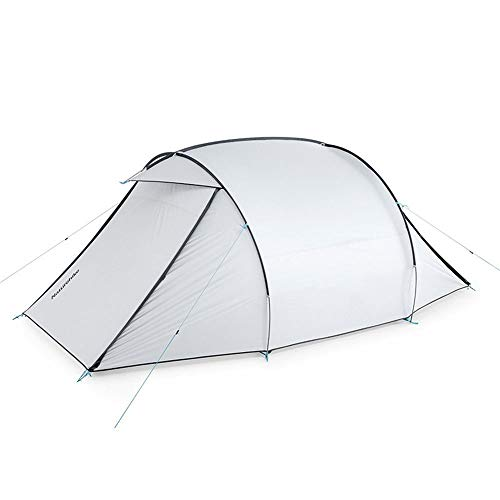 ZoSiP Outdoor Camp Folding Tent Park Tent Two-way Entrance Hall Silver-painted Sun-proof And Rain-proof Outdoor Tent (Color : White, Size : (130+153+130) x165cm)