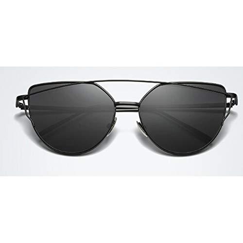 JINGRU RebajasGafas de SolPlanas paraMujer Cat Eye Gafas de Sol conMontura de Doble Haz de diseñadorGafas de SolUV400