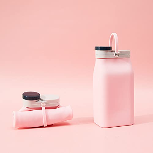 PZJ-Botella De Agua Silicona Plegable Reutilizable, Copas de Viaje Plegable Portátil, Sin BPA, para Exteriores, Cámping, Viajes, Gimnasio,Rosado