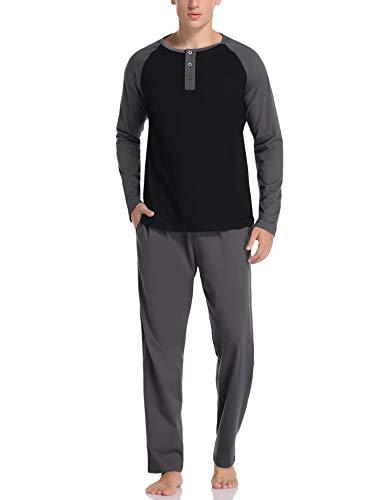 Hawiton Pijamas Hombre Invierno Algodón Conjunto de Pijama de Hombre Manga Larga Pantalones Largo 2 Pieza