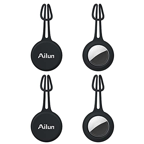 Ailun [4Pack] Soft Silicone Airtag Case Loop Protective Silicone Keychain, Location Anti-Lost Protector Holder Ring for AirTags, Wear-Resistant Silicone Cover