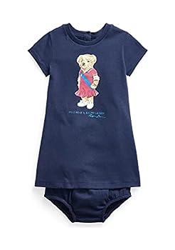 Ralph Lauren Baby Girls Polo Bear Dress & Bloomer Set  Navy 0001 /White 18 Months 18_Months