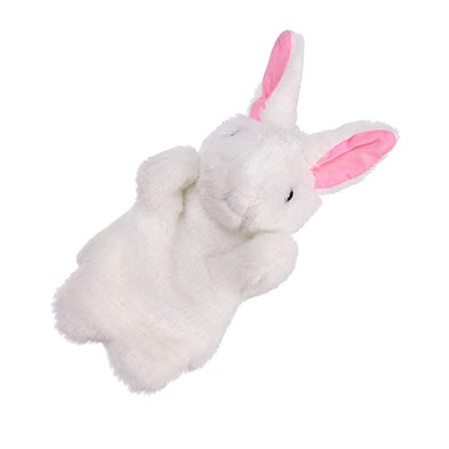 jojofuny Marioneta de Mano de Conejito Juego de rol Títeres de Mano de Conejo de Peluche Juguetes de Peluche de Pascua para El Favor del Partido (Blanco)