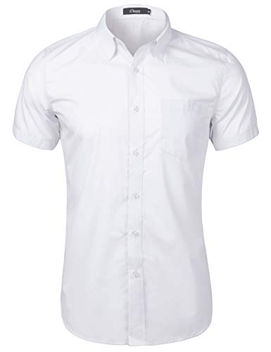 iClosam Hemd Herren Kurzarm Regular Fit Hemden für Anzug, Business, Freizeit, Hochzeit (#Weiß, L)