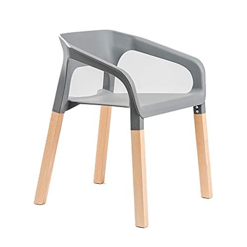 HLY Silla trasera, diseño de madera maciza, creativo, moderno, elevador, giratorio, taburete de comedor, moda, informal, de madera maciza, taburete redondo para el hogar, duradero,gris