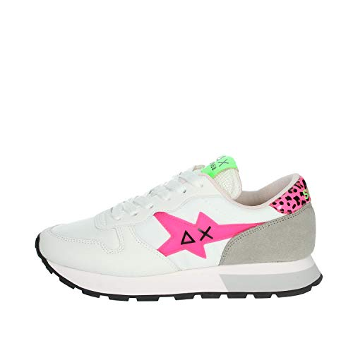 Sun 68 Sneaker Donna Zeppa Ally Star Transparent Logo Z31209 Bianco/Fuxia Fluo (Numeric_40)