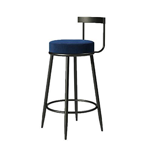 Nordic Bar Chaise Flanelle Tabouret Surfacewrought fer cadre avec Adapté Café Thé Dossier Boutique Bar Chaise (Hauteur d'assise 65 / 75cm)