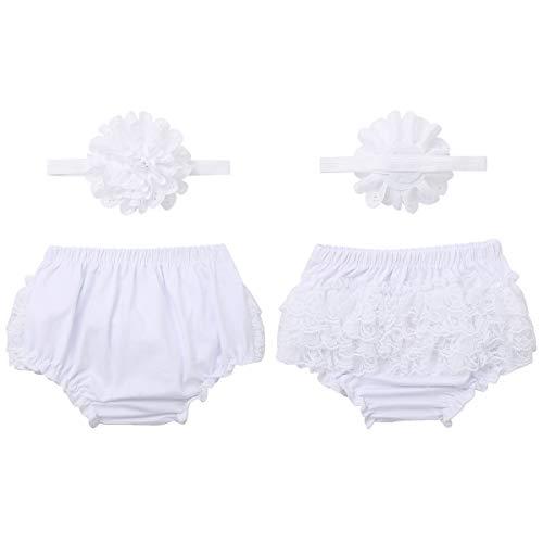 Nimiya Neugeborenen Baby Mädchen Bloomers Baumwolle Unterhose Mit Blumen Stirnband Weiche Spitze Schlüpfer Bequem Babykleidung Unterwäsche Gr. 50-74 A Weiß 62-68