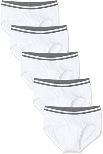 Marca Amazon - find. Slip para Hombre Y-Front, Multipack, Blanco (White), M, Label: M