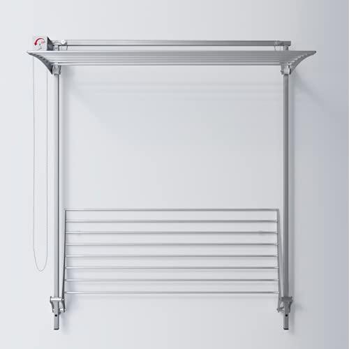 Foxydry Wall Plus, Stendibiancheria da Parete, stendino Verticale, saliscendi in Alluminio e Acciaio… (150 Plus)