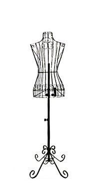 "Adjustable- Mannequin Dress Form Female Black Steel Wire 32""22""32"" on Decorative Stand (0004 Black)"