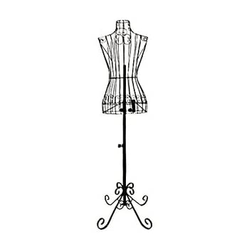 "Adjustable- Mannequin Dress Form Female Black Steel Wire 32""22""32"" on Decorative Stand (0004 Black)"