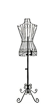 Adjustable- Mannequin Dress Form Female Black Steel Wire 32'22'32' on Decorative Stand (0004 Black)