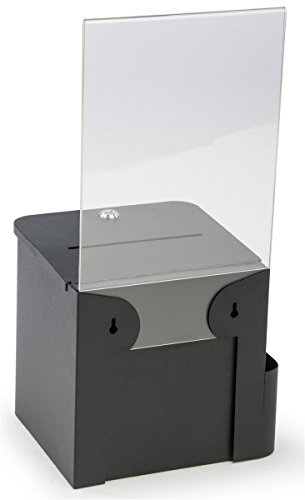 "Suggestion and Ballot Box, Locking, Includes Pocket for Envelopes, 8.5"" x 11"" Sign Holder (Black Metal)"