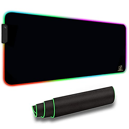 FORRICA RGB Alfombrilla de Ratón 900x400x3mm Alfombrilla Raton Gaming Grandes XXL Impermeable para Gamers Ordenador y oficina Mouse Pad Negro A