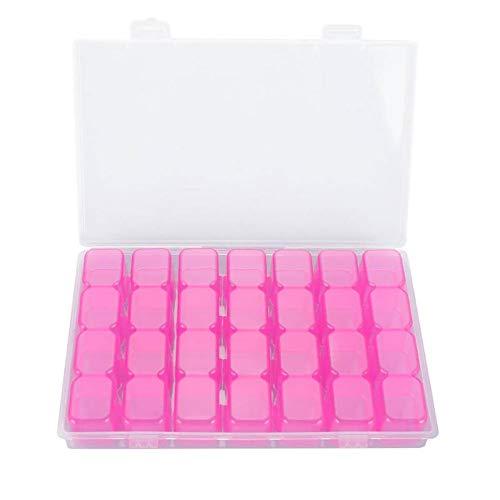 Hilai 1pack DIY Lot de 28 petites boîtes avec couvercles Transparent/coloré de en plastique de diamants Painting de Nail Accessoires récipient de stockage organiseur(Rose)