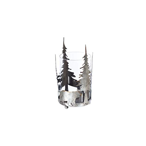 Ganz CB174879 Antique Silver Pillar Candle Holder, 8-inch Height (Forest with Bear)