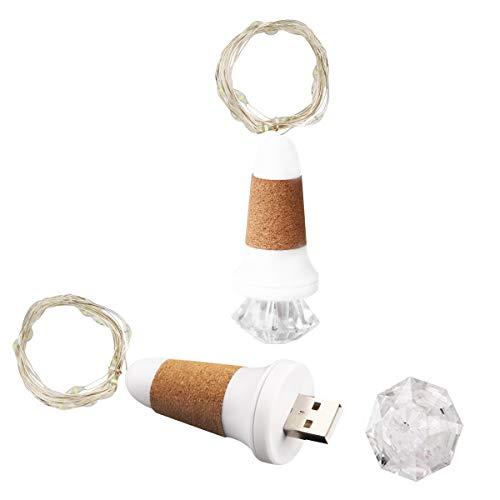 Cadena de luces con corcho, USB, 2 unidades, cadena de luces LED, botellas, cadena de luces corta, 1,5 m, mini alambre corto para vacaciones, decoración de botellas de vino, fiesta, regalo, flores