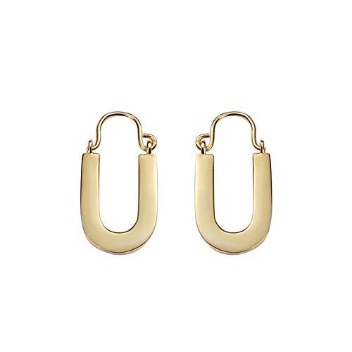 MURUI EH S925 plata esterlina adornos europeos y americanos moda fría luz oreja tuerca diseño geométrico en forma de U oído yc715