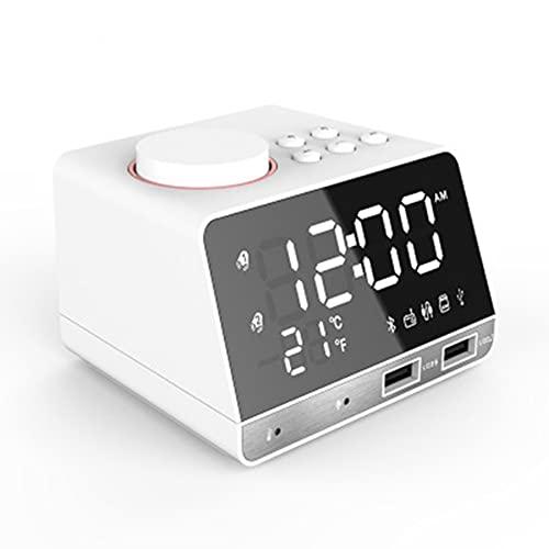 LG&S Termostato Interior Altavoz Bluetooth FM Radio Dual USB Estación De Carga Manos Llamada Telefónica Gratuita Reloj De Alarma Digital Soporte TF Tarjeta Play Y Unidad Flash USB,Blanco