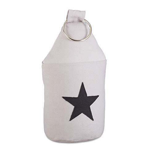Relaxdays 10022827_111 Butoir tissu étoile sable poignée arrêt de porte HxD: 23x11 cm, gris, 25 X 11