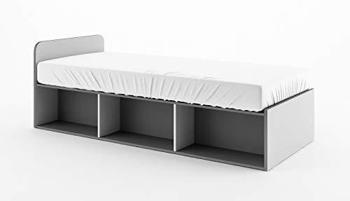 Schrankbett Bumerang BR14, Wandklappbett mit Lattenrost und Federkernmatratze 186x80 cm, Funktionsbett, Bettschrank, Wandbett (Graphite/Grau/Weiß)