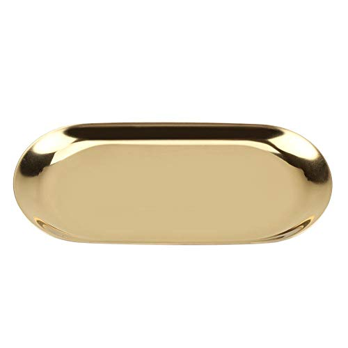 Raguso Bandeja de Almacenamiento para baño Bandeja para Toallas con Acabado de latón Suave para Cocina(Golden, Small)