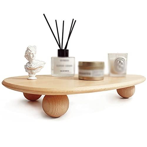 ZJH Bandeja Bandeja de baño de Madera Maciza decoración aromaterapia nórdica Bandeja Creativa cosméticos cosméticos joyería Almacenamiento Bandeja (Color : Wood)