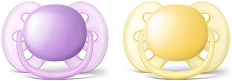 Philips Avent Ultra Soft Soother, 6-18 Months, 2-Pack, Assorted Colours, SCF210/23