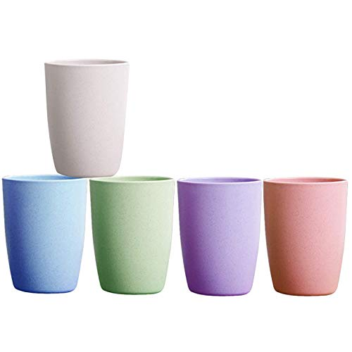 12 oz Reusable Drinking Cups for Kitchen, Eco-friendly Unbreakable Tumblers, Non-Plastic Kids Cup, Dishwasher Safe Glasses,5 Packs (Multicolor)