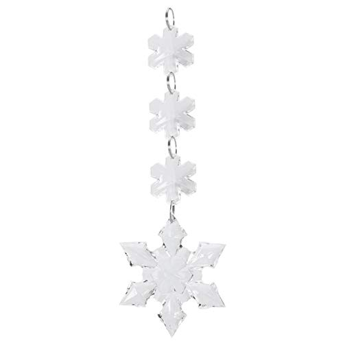 Omabeta Clear Transparent Crystal Hanging Pendant for Car Decor Crystal Accessory(1 6.5cm six-pointed corner snowflake pendant)