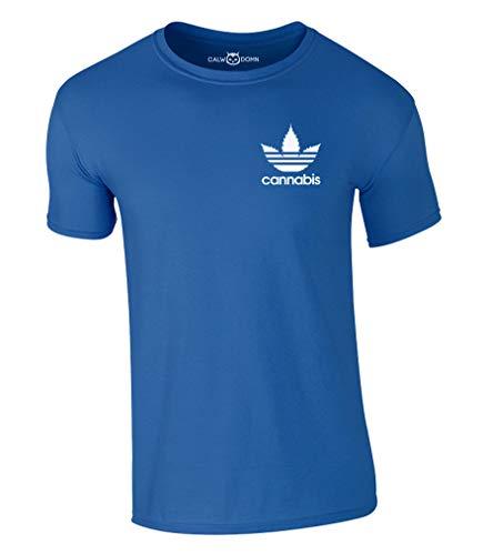 Cannabis T-Shirt Gras Marihuana Weed Haschisch THC (M, Blau)