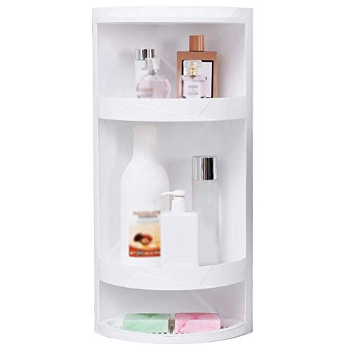 IUYJVR Soporte de Suelo Estante de baño Estante de Ducha Esquina A Prueba de Polvo Plástico Multicapa Blanco (Color: 21x21x60.5cm)