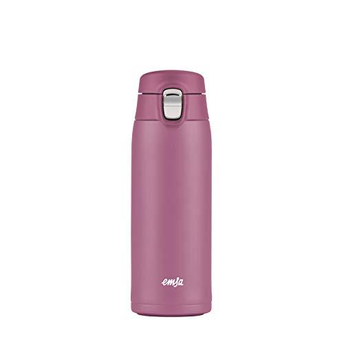 Emsa N2151100 Travel Mug Light Thermo-/Isolierbecher aus Edelstahl | 0,4 Liter | 6h heiß | 12h kalt | BPA-Frei | 100% dicht | auslaufsicher | spülmaschinengeeignet | Klappverschlussystem | Rosa