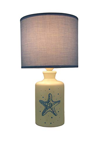 White and Blue Ceramic Starfish Table Lamp with Fabric Shade