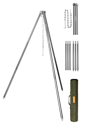 OMUKY Camping Tripod Grills Assembled Cooking Stove Stand Outdoor Campfire Cooking For Portable Fire Pit (Gray)