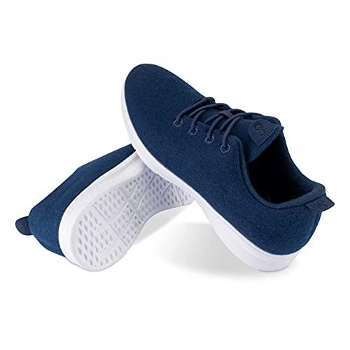 Zapatillas de lana de merino, cómodas zapatillas de lana de merino transpirable para hombres y mujeres., color Azul, talla 42 EU