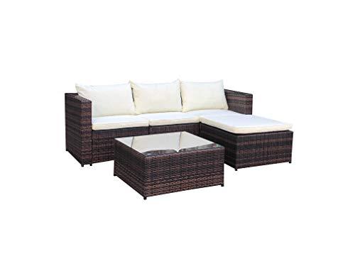 Evre Outdoor Rattan Garden Furniture Set Malaga Conservatory Sofa coffee table (Brown)