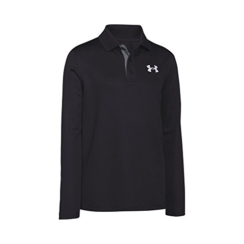 Under Armour Boys' Match Play Long Sleeve Polo, Black (001)/White, Youth Large