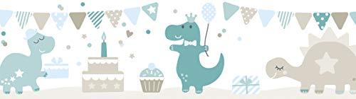 lovely label, cenefa autoadhesiva, 450 x 11.5 cm, diseño de dinosaurios, color azul petróleo-gris beige-azul claro