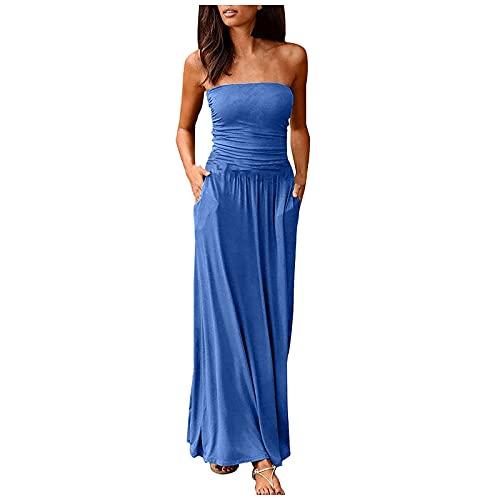 FQZWONG Women's Bandeau Dress Off Shoulder Long Dress Fashion Summer Solid Maxi Dress for Holiday Beach(A-Blue,Medium)