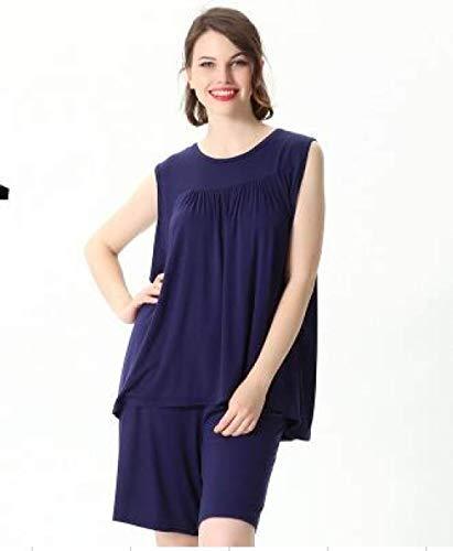 JFCDB Nachthemd Zomerondergoed Dames Sleep Lounge Pyjama Nachtkleding Tops Bodemsets Pyjama's Plus Maat 2xL- 5XL 6XL 7XL, Donkerblauw, 7XL
