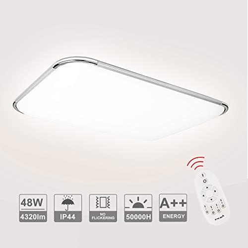 Hengda LED Deckenleuchte Dimmbar, 4320LM Flurlampe Wohnzimmerlampe, Ersatz 200W Glühlampe, 6500K Küchenleuchte Bürodeckenleuchte 48W, Schutzart IP44