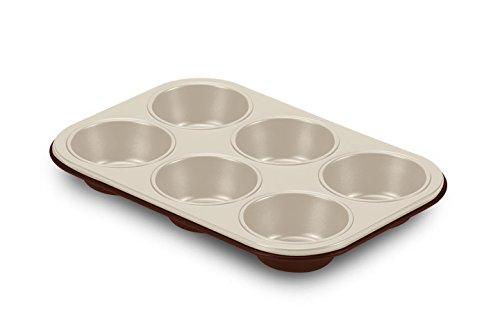 Guardini Chocoforme, Plaque à 6 muffins 18,5 x 27 cm, acier avec revêtement anti-adhérent, couleur crème-chocolat