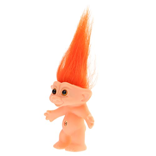 Perfeclan PVC Vintage Troll Dolls Bulk, Mini Action Figures Toys, Dollhouse Doll Kids Adult Collectible Action Figures, 6 Patterns for Choose - Orange