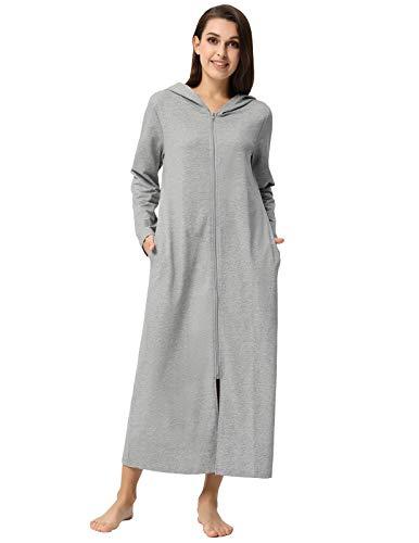Zexxxy Women's Bath Robes Cotton Hoodie Kimono Wrap Warm Long House Coat Grey L