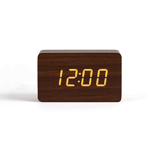 LIVOO Wecker Digital Holzoptik Weckfunktion Temperaturanzeige Datumsanzeige (USB-Kabel, Tischuhr, Batteriebetrieben, Sound-Steuerungsmodus, Braun)