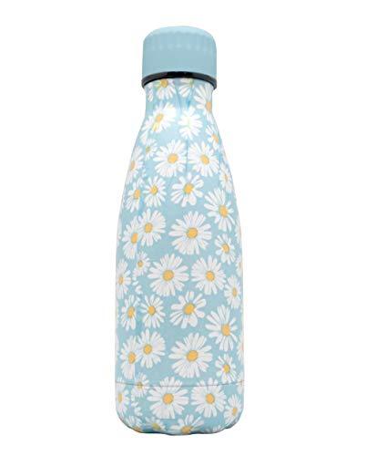 NERTHUS FIH 762 Botella Termo Doble Pared para frios y Calientes diseño Margaritas Color Azul 350ml, Acero Inoxidable, Libre de BPA, 18/8, Flores, 350 ml