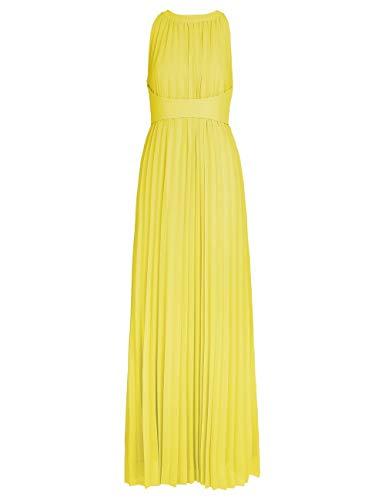 APART, Elegantes Abendkleid aus plissiertem Chiffon, mit breitem Taillenband, gelb, 36