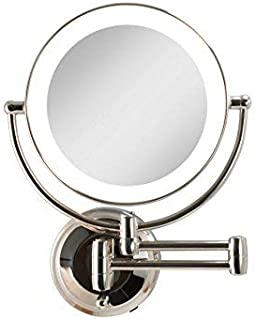 Zadro Cordless Dual LED Lighted Round Wall Mount Make up Mirror with 1X & 10X magnification in Polished Nickel Finish.